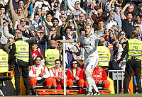 MADRI, ESPANHA, 02 MARÇO 2013 - CAMPEONATO ESPANHOL - REAL MADRID X BARCELONA - Karim Benzema jogador do Real Madrid comemora gol durante partida contra o Barcelona em partida pela 26 rodada do Campeonato Espanhol, neste sabado, 02. (FOTO: ALEX CID-FUENTES / ALFAQUI / BRAZIL PHOTO PRESS).