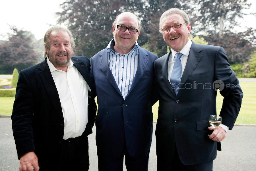 22/6/10 Michael Colgan with Paulo Tullio and Paul McGuinness before he recieves his OBE from Ambassador Julian King at the British Amabassador's residence at Glencairn House in Sandyford, Dublin. Arthur Carron/Collins