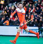 ROTTERDAM - Mirco Pruijser (NED) heeft de stand op 2-0 gebracht  tijdens de Pro League hockeywedstrijd heren, Nederland-Spanje (4-0). ANP KOEN SUYK