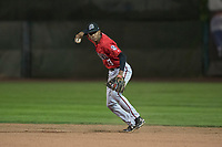 Billings Mustangs second baseman Urwin Juaquin (13) prepares to make a throw to first base during a Pioneer League game against the Ogden Raptors at Lindquist Field on August 17, 2018 in Ogden, Utah. The Billings Mustangs defeated the Ogden Raptors by a score of 6-3. (Zachary Lucy/Four Seam Images)