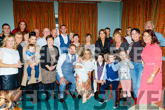 Vincent&Jennifer O'Carroll Reidy, Tralee, seated centre, Christened their new baby Oisín in St Brendans church, Tralee last Saturday afternoon and celebrated after in the Na Gaeil GAA club, Tralee.