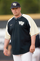 Wake Forest Demon Deacons coach Dennis Healy #12 at the Wake Forest Baseball Park April 23, 2010, in Winston-Salem, NC.  Photo by Brian Westerholt / Sports On Film