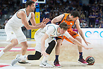 Real Madrid Felipe Reyes and Luka Doncic and Valencia Basket Rafa Martinez during Liga Endesa match between Real Madrid and Valencia Basket at Wizink Center in Madrid , Spain. March 25, 2018. (ALTERPHOTOS/Borja B.Hojas)