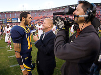 Zach Maynard of California gives an interview with CSN after the game at Candlestick Park in San Francisco, California on September 3rd, 2011.  California defeated Fresno State, 36-21.