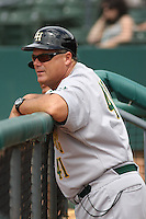 Manager Pat Kelly #41 of the Lynchburg Hillcats in the dugout during a game against the Myrtle Beach Pelicans at BB&T Coastal Field on May 26, 2010 in Myrtle Beach. Photo by Robert Gurganus/Four Seam Images.