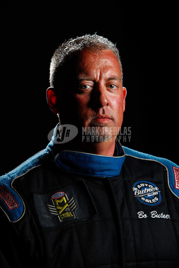 Feb 8, 2017; Pomona, CA, USA; NHRA pro stock driver Bo Butner poses for a portrait during media day at Auto Club Raceway at Pomona. Mandatory Credit: Mark J. Rebilas-USA TODAY Sports