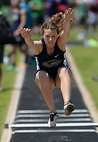 NWA Democrat-Gazette/ANDY SHUPE<br /> Winnie Spurlock of Bentonville West leaps Wednesday, May 15, 2019, while competing in the long jump portion of the state heptathlon championship at Ramay Junior High School. Visit nwadg.com/photos to see more photographs from the meet.
