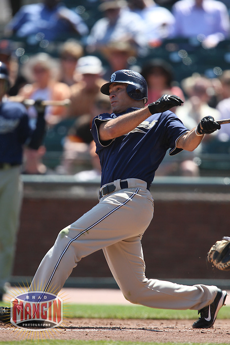 SAN FRANCISCO - APRIL 22:  Scott Hairston #12 of the San Diego Padres bats against the San Francisco Giants during the game at AT&T Park on April 22, 2009 in San Francisco, California. Photo by Brad Mangin