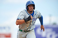 Hartford Yard Goats left fielder Dillon Thomas (25) running the bases during a game against the Binghamton Rumble Ponies on July 9, 2017 at NYSEG Stadium in Binghamton, New York.  Hartford defeated Binghamton 7-3.  (Mike Janes/Four Seam Images)