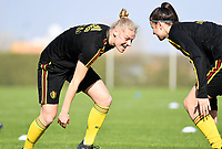 20190226 - LARNACA , CYPRUS :  Belgian Ella Van Kerkhoven  pictured in a duel with Laura De Neve (r)  during a Matchday -1 training from The Belgian Red Flames prior to their game against the women team of Slovakia , on Tuesday 26 February 2019 at the Alpha Sports Grounds in Larnaca , Cyprus . This will be the first game in group C for Belgium during the Cyprus Womens Cup 2019 , a prestigious women soccer tournament as a preparation on the European Championship 2021 qualification duels. PHOTO SPORTPIX.BE | DAVID CATRY
