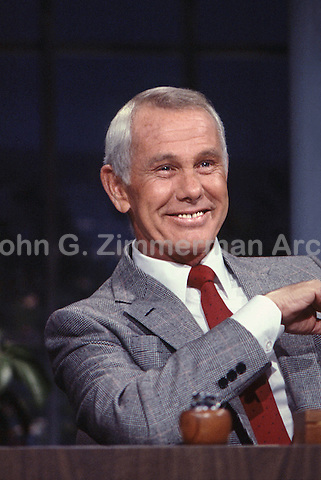 Johnny Carson hosting the Tonight Show, NBC Studios, Burbank, CA, 1982. Photo by John G. Zimmerman.