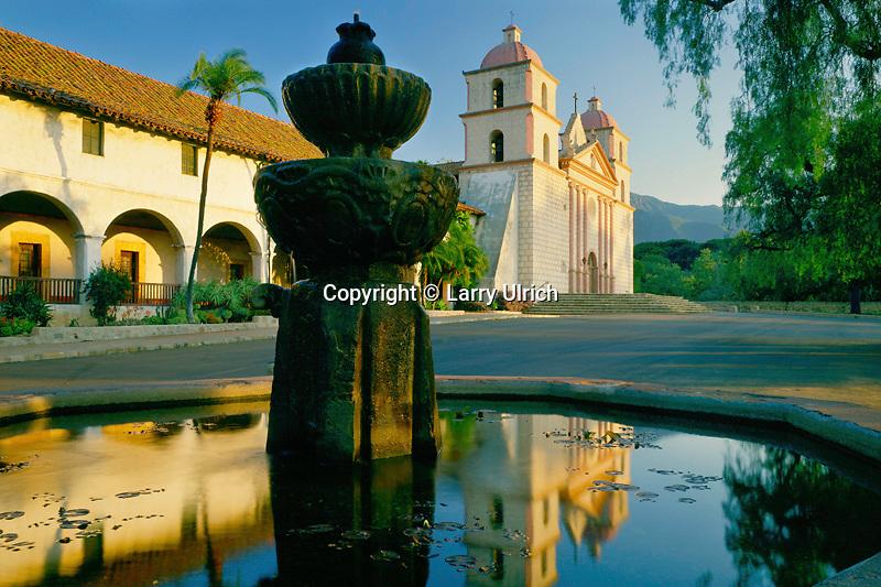 Mission Santa Barbara<br />   at sunrise<br /> Santa Barbara<br /> Santa Barbara County,  California