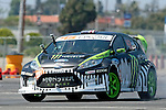 Inglewood, CA 08/07/10 - Monster World Rally Team driver Ken Block negotiates the gymkhana grid in a highly modified european model Ford Fiesta at Hollywood Park in Inglewood, California.