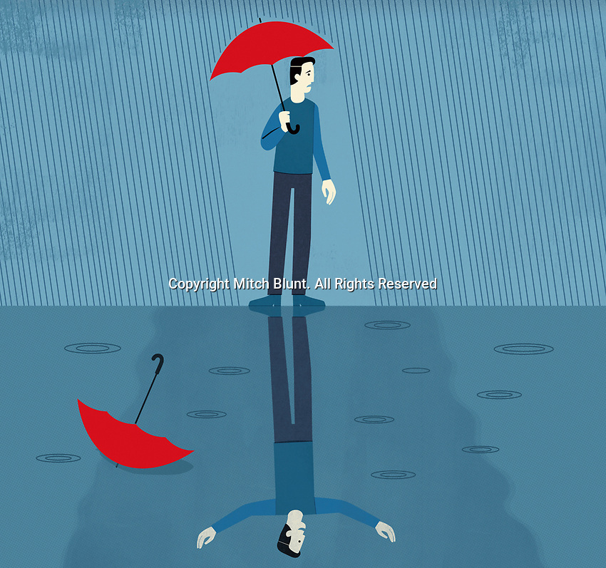 Contrast between man unhappy in rain and happy reflection ExclusiveImage