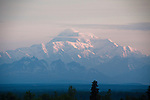 Mount McKinley at sunrise, seen from Talkeetna, Alaska.  A majestic view seen at about 3am. The mountain is about 50 miles away.