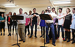Dan Cooney and Anthony Crivello and company performing at the Open Press Rehearsal for 'Heathers The Musical' on February 19, 2014 at The Snapple Theatre Center in New York City.