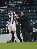 St Mirren manager Danny Lennon issues instructions as David Barron waits to come on in the St Mirren v Celtic Scottish Communities League Cup Semi Final match played at Hampden Park, Glasgow on 27.1.13.