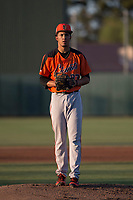 AZL Giants Orange starting pitcher Francis Pena (87) prepares to deliver a pitch during an Arizona League game against the AZL Athletics at Lew Wolff Training Complex on June 25, 2018 in Mesa, Arizona. AZL Giants Orange defeated the AZL Athletics 7-5. (Zachary Lucy/Four Seam Images)