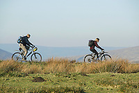 Mountain bikers, Mellor Knoll, Forest of Bowland, Lancashire.