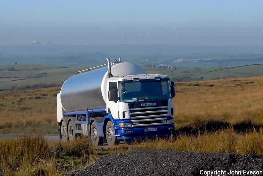 Milk tanker near Lancaster.