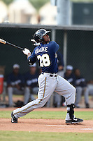 Milwaukee Brewers outfielder Victor Roache (28) during an Instructional League game against the Los Angeles Angels of Anaheim on October 9, 2014 at Tempe Diablo Stadium Complex in Tempe, Arizona.  (Mike Janes/Four Seam Images)