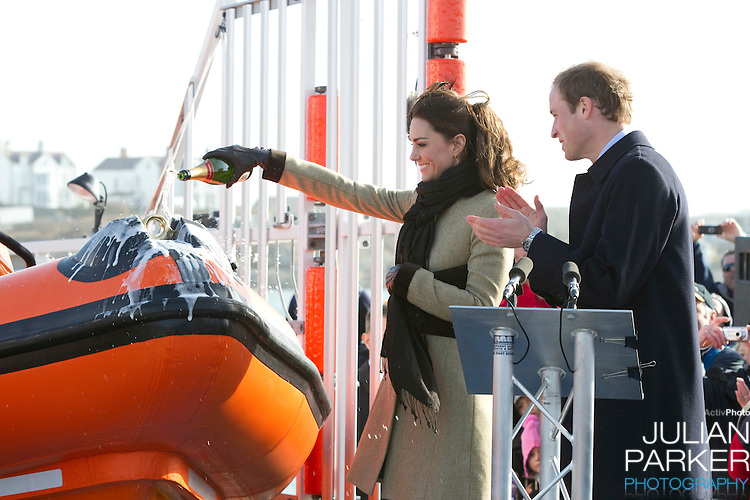 """Prince William, and Catherine Middleton attend the naming ceremony and service of dedication of the Atlantic 85 lifeboat, """" Hereford Endeavour """" at Trearddur Bay Lifeboat Station, in Trearddur Bay, Anglesey."""