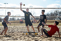 NWA Democrat-Gazette/CHARLIE KAIJO Josh Bruce, 16, of Centerton; Noah Blake, 16, of Bentonville; Giovanni Alawdi, 15, of Bentonville and Orion O&acirc;&euro;&trade;Connor, 17, of Bentonville (from left) play spike ball during a spike ball tournament, Monday, January 7, 2019 at Memorial Park in Bentonville. <br />