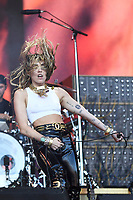 SHEPTON MALLET, ENGLAND - JUNE 30: Miley Cyrus performing at Glastonbury Festival, Worthy Farm, Pilton, on June 30, 2019 in Shepton Mallet, England.<br /> CAP/MAR<br /> ©MAR/Capital Pictures