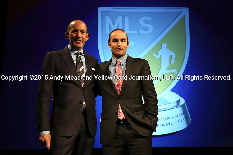 15 January 2015: Landon Donovan (right) poses with MLS Commissioner Don Garber in front of a mock-up of the new award. The Major League Soccer honored Landon Donovan by renaming their league Most Valuable Player Award after him in a tribute held at the Pennsylvania Convention Center in Philadelphia, Pennsylvania.