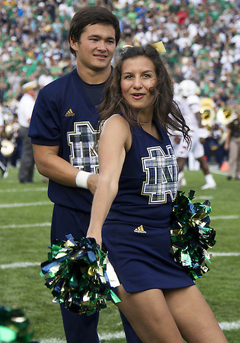 August 31, 2013:  Notre Dame cheerleader Meredith Angell performs during NCAA Football game action between the Notre Dame Fighting Irish and the Temple Owls at Notre Dame Stadium in South Bend, Indiana.  Notre Dame defeated Temple 28-6.