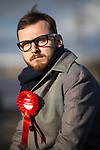 © Joel Goodman - 07973 332324 . 18/01/2018 . Flintshire , UK . Labour candidate for Alyn and Deeside JACK SARGEANT at Connah's Quay . Jack's father Carl was the constituency MP until his suicide in late 2017 triggered a by-election . Photo credit : Joel Goodman
