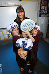 Welsh Water Shorter Shower Campaign at Mount Pleasant Primary School..L-R: Misaki Koga, Ella Jeffrey and Jamie Massey with Welsh Water teacher Mary Watkins..01.12.11.©Steve Pope