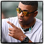 Manager Jolbert Cabrera (8) of the Augusta GreenJackets in a game against the Greenville Drive on Thursday, May 17, 2018, at Fluor Field at the West End in Greenville, South Carolina. Augusta won, 2-1. (Tom Priddy/Four Seam Images)