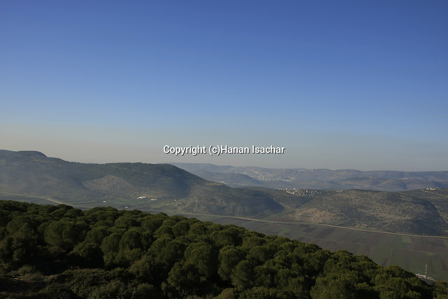 Israel, Lower Galilee. Mount Turan overlooking Beit Netofa valley