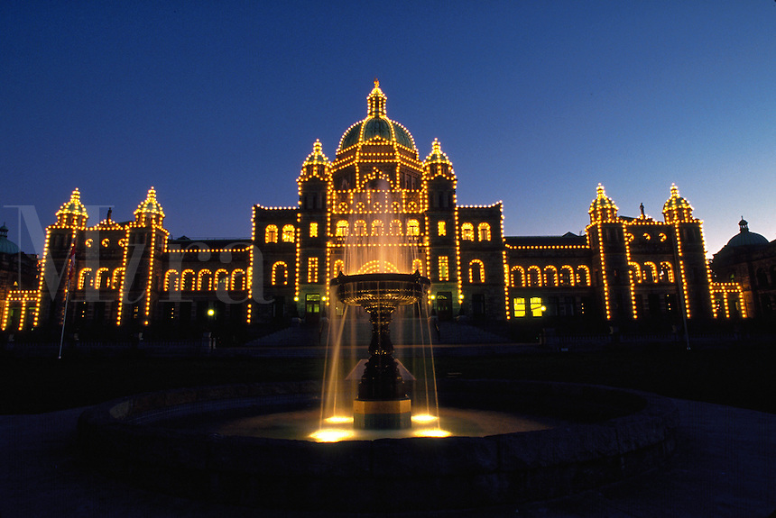 British Columbia's Parliament building at night, Canada, Victoria, British Columbia