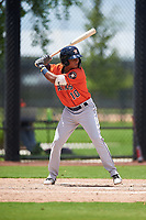 GCL Astros Rolando Espinosa (10) at bat during a Gulf Coast League game against the GCL Nationals on August 9, 2019 at FITTEAM Ballpark of the Palm Beaches training complex in Palm Beach, Florida.  GCL Nationals defeated the GCL Astros 8-2.  (Mike Janes/Four Seam Images)