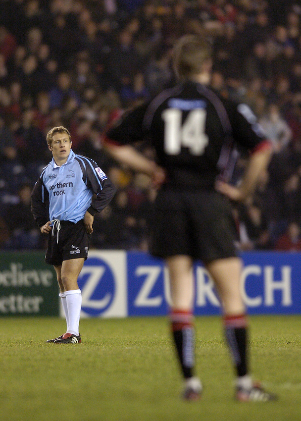 Photo. Jed Wee..Edinburgh Rugby v Newcastle Falcons , Heineken Cup, 11/12/2004..Newcastle's Jonny Wilkinson.