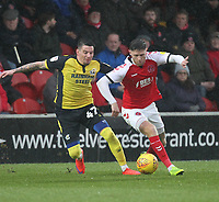 Fleetwood Town's Wes Burns  in action with Scunthorpe Utd's Adam Hammill<br /> <br /> Photographer Mick Walker/CameraSport<br /> <br /> The EFL Sky Bet League One - Fleetwood Town v Scunthorpe United - Saturday 26th January 2019 - Highbury Stadium - Fleetwood<br /> <br /> World Copyright © 2019 CameraSport. All rights reserved. 43 Linden Ave. Countesthorpe. Leicester. England. LE8 5PG - Tel: +44 (0) 116 277 4147 - admin@camerasport.com - www.camerasport.com