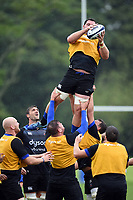 James Phillips of Bath Rugby wins the ball at a lineout. Bath Rugby pre-season training session on August 9, 2017 at Farleigh House in Bath, England. Photo by: Patrick Khachfe / Onside Images