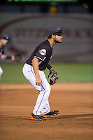 Salem-Keizer Volcanoes third baseman David Villar (5) during a Northwest League game against the Eugene Emeralds at Volcanoes Stadium on August 31, 2018 in Keizer, Oregon. The Eugene Emeralds defeated the Salem-Keizer Volcanoes by a score of 7-3. (Zachary Lucy/Four Seam Images)