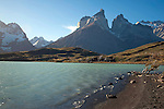 View of Lago Nordernskjöld Lake and Mountains of Torres del Paine National Park in Patagonia Chile