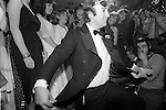 Dai Llewellyn taking a bow at the Alternative Deb of the Year Competition at Wedgies Night Club in the Kings Road, Chelsea, London 1982.<br />