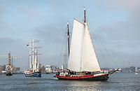 Nederland  Amsterdam  -  2017.  Zeilschepen op het IJ. De Bruine Vloot protesteert tegen het verdwijnen van ligplaatsen in Amsterdam.   Foto Berlinda van Dam / Hollandse Hoogte
