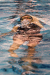 19 February 2016: Notre Dame's Catherine Mulqueen competes in the 100 Backstroke preliminary heat 5. The 2016 Atlantic Coast Conference Swimming and Diving Championships were held at the Greensboro Aquatic Center in Greensboro, North Carolina from February 17-27, 2016.