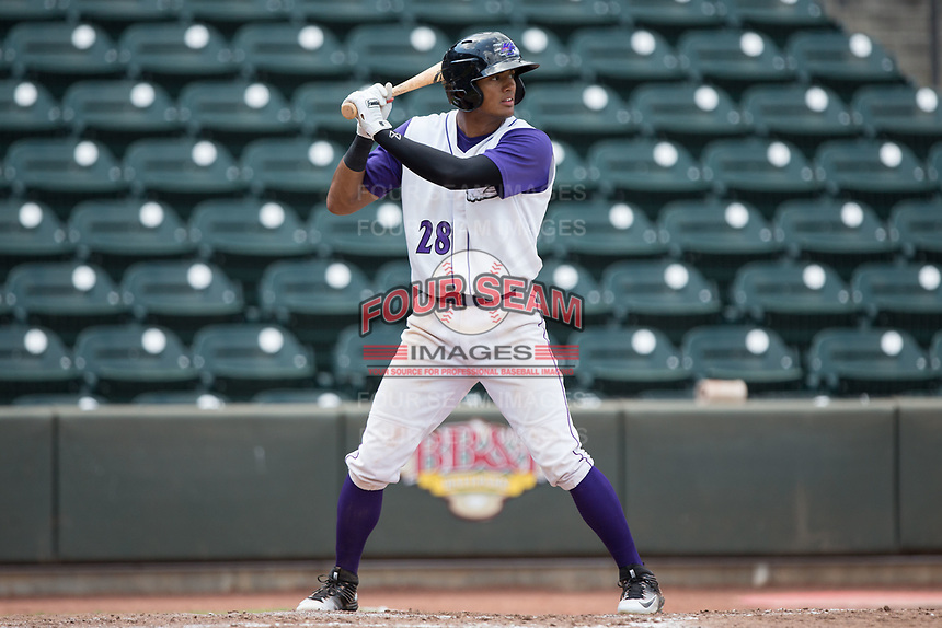Joel Booker (28) of the Winston-Salem Dash at bat against the Potomac Nationals at BB&T Ballpark on August 6, 2017 in Winston-Salem, North Carolina.  The Nationals defeated the Dash 4-3 in 10 innings.  (Brian Westerholt/Four Seam Images)