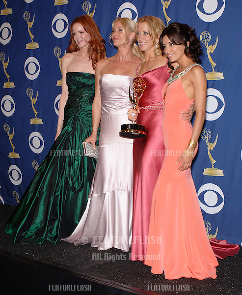 Desperate Housewives stars MARCIA CROSS (left), NICOLETTE SHERIDAN, FELICITY HUFFMAN & EVA LONGORIA at the 57th Annual Primetime Emmy Awards in Los Angeles..September 18, 2005  Los Angeles, CA..© 2005 Paul Smith / Featureflash