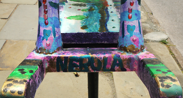 "A view of ""Nebula'"" created by, Cora Masters, seen on Partition Street, one of the ""Rockin' Around Saugerties"" theme Statues on display throughout the Village of Saugerties, NY, on Friday, June 9, 2017. Photo by Jim Peppler. Copyright/Jim Peppler-2017."