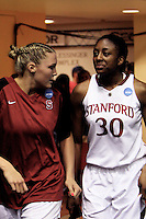 BERKELEY, CA - MARCH 30: Jayne Appel and Nneka Ogwumike chat just before the second half during Stanford's 74-53 win against the Iowa State Cyclones on March 30, 2009 at Haas Pavilion in Berkeley, California.