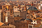 View from the top of the micalet, or bell tower of the Valencia Cathedral, with a view of La Lonja de la Seda in the foreground