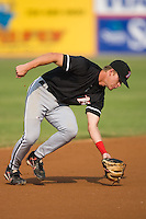 Gordon Beckham (8) of the Kannapolis Intimidators snares a low line drive at L.P. Frans Stadium in Hickory, NC, Sunday August 17, 2008. (Photo by Brian Westerholt / Four Seam Images)
